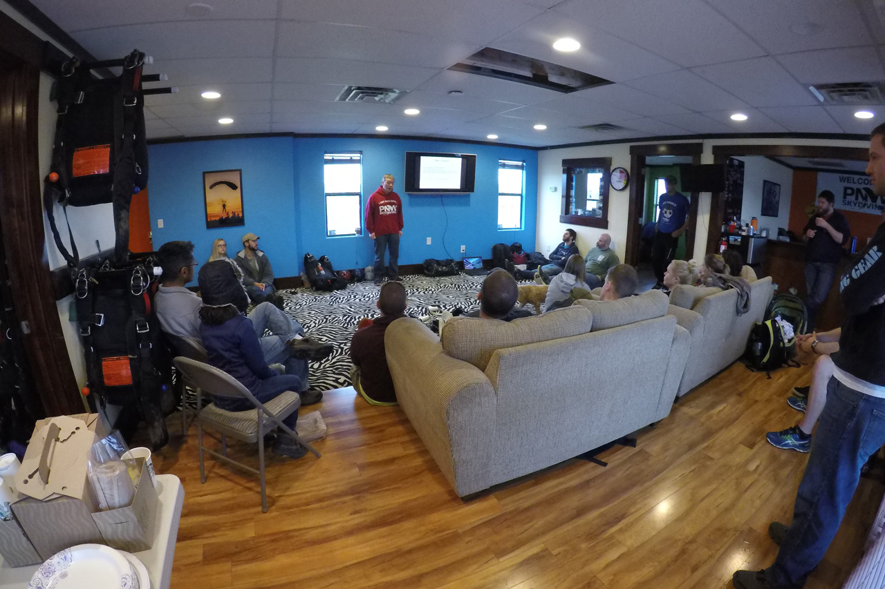 Indoor training center with couches at PNW Skydiving in Oregon