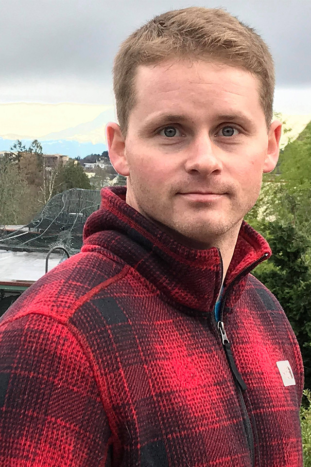 Chris Brixley in red flannel shirt
