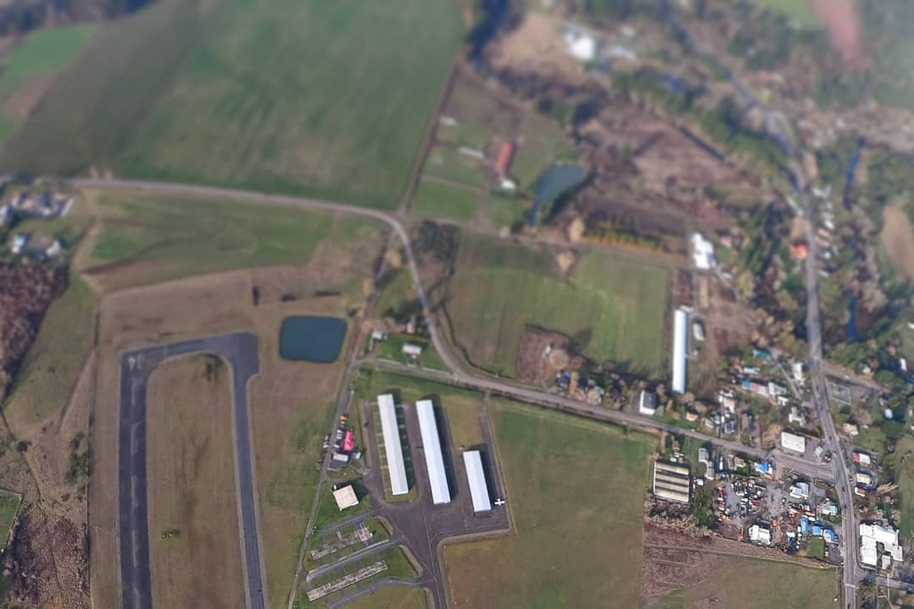 Aerial view of landing area at PNW Skydiving Center near Portland, OR