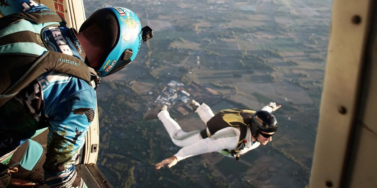 AFF student in freefall after exiting aircraft at PNW Skydiving near Portland, OR