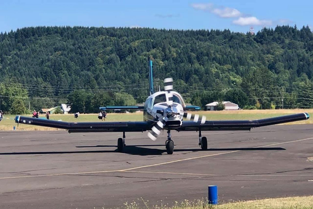 PAC750XL skydiving aircraft on runway preparing for take off at PNW Skydiving Center in Oregon