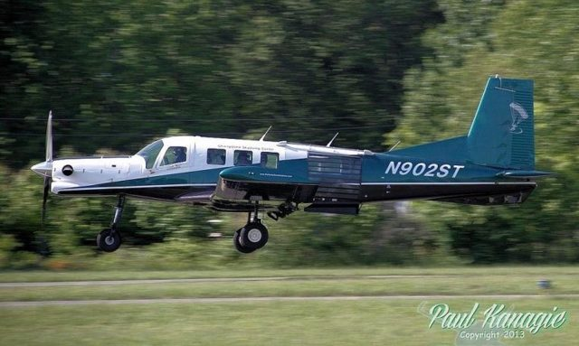PAC750XL skydiving aircraft taking off at PNW Skydiving Center in Oregon