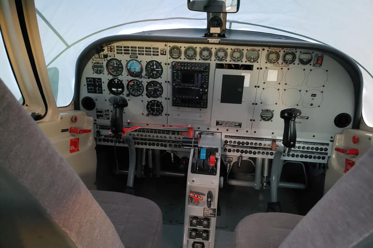 Cockpit of PAC750XL skydiving aircraft