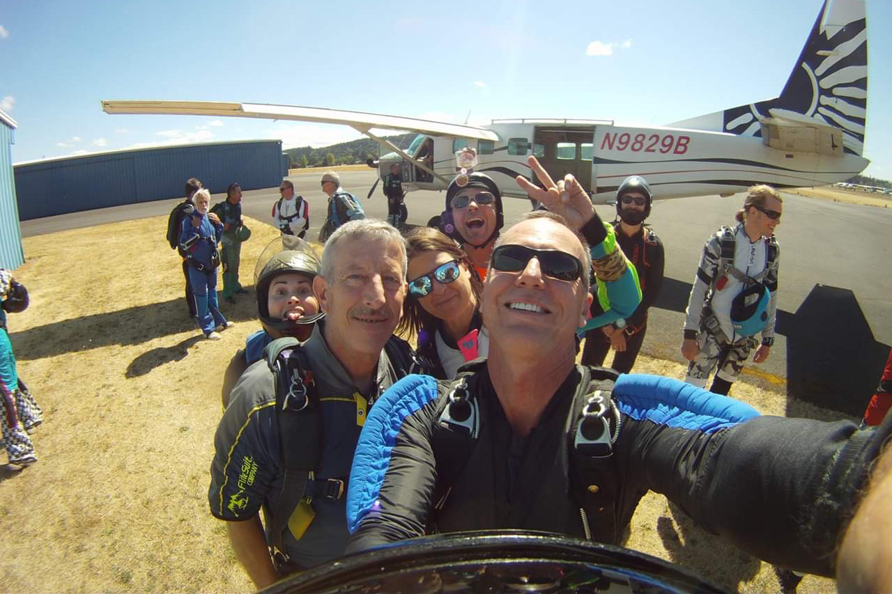 Fun jumpers at PNW Skydiving near Portland taking a selfie before boarding the aircraft