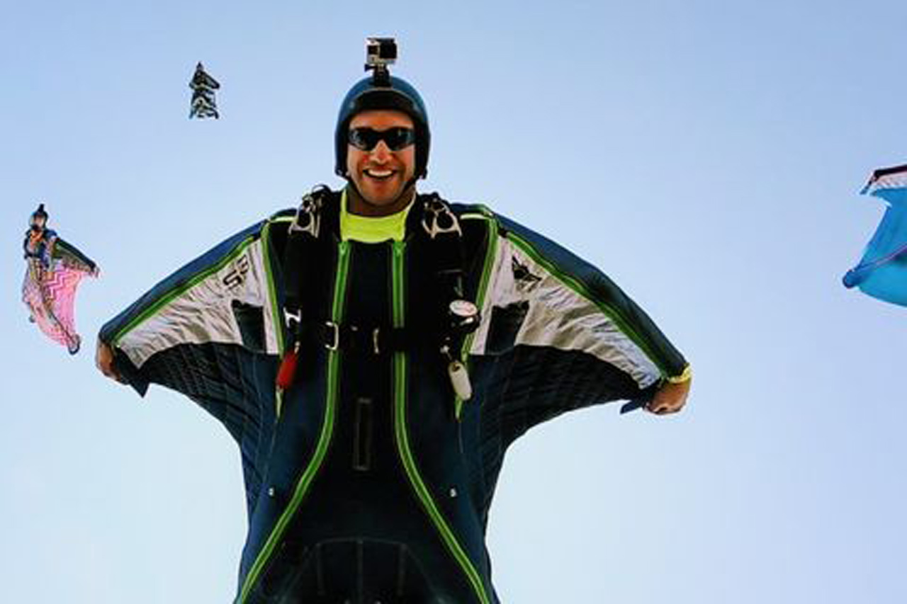 Wingsuit flyer in freefall at PNW Skydiving Center near Portland, OR