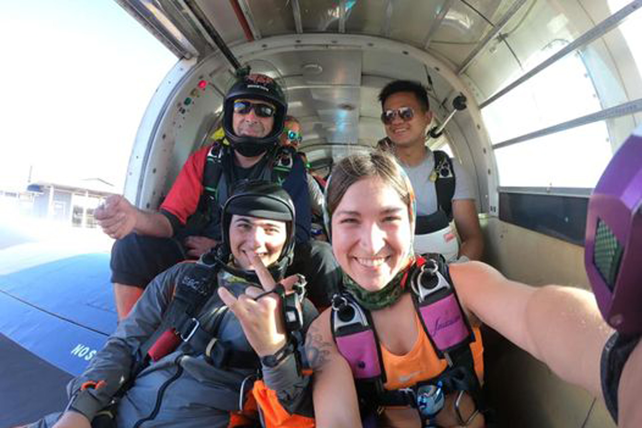 Experienced skydivers taking a selfie in the jump plane at PNW Skydiving in Oregon