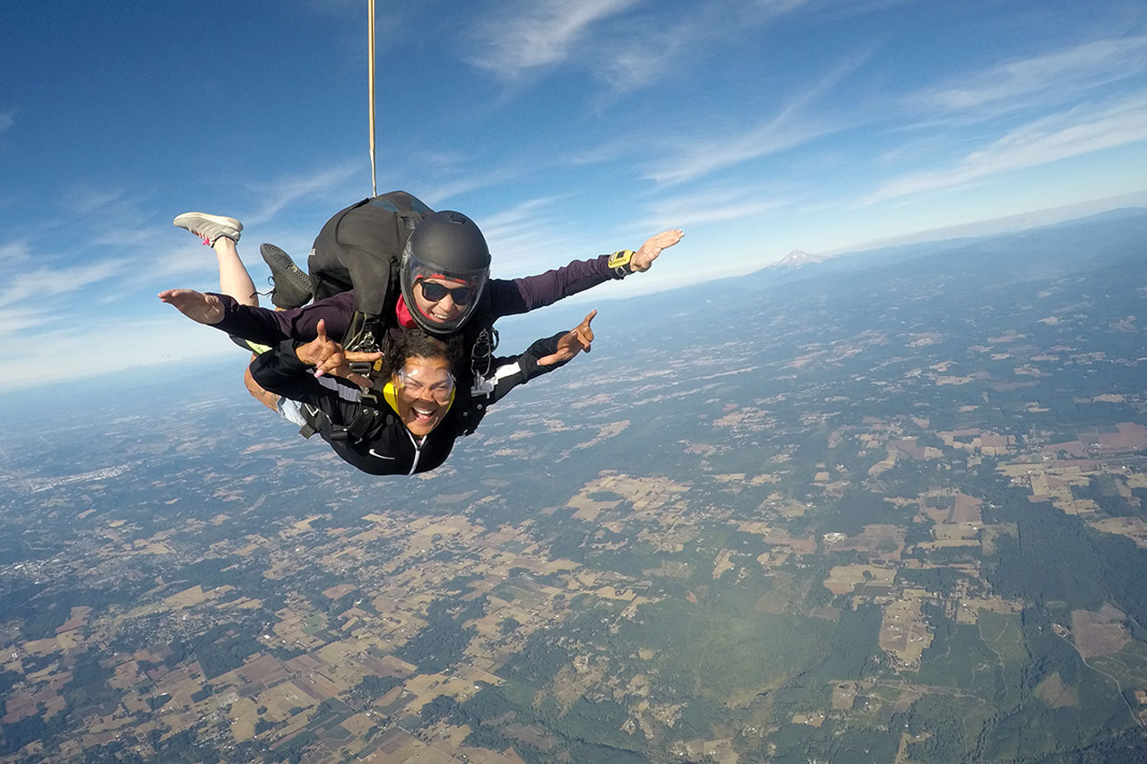 woman rocks first time skydive