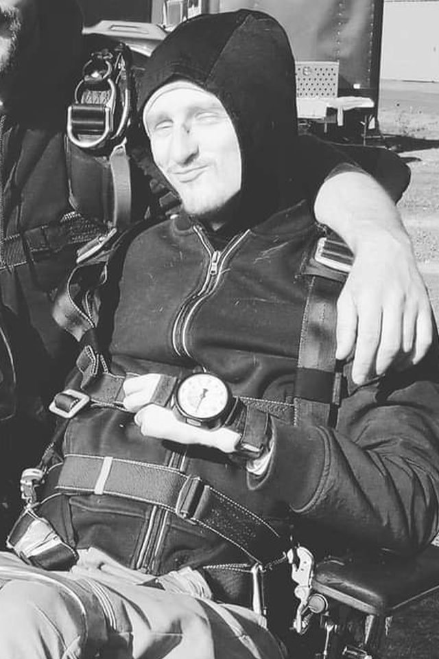 Jacob Wacker in a wheelchair getting ready to skydive