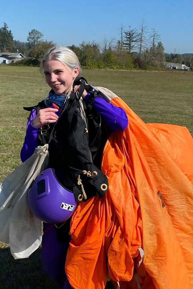 Kyra Bush with parachute