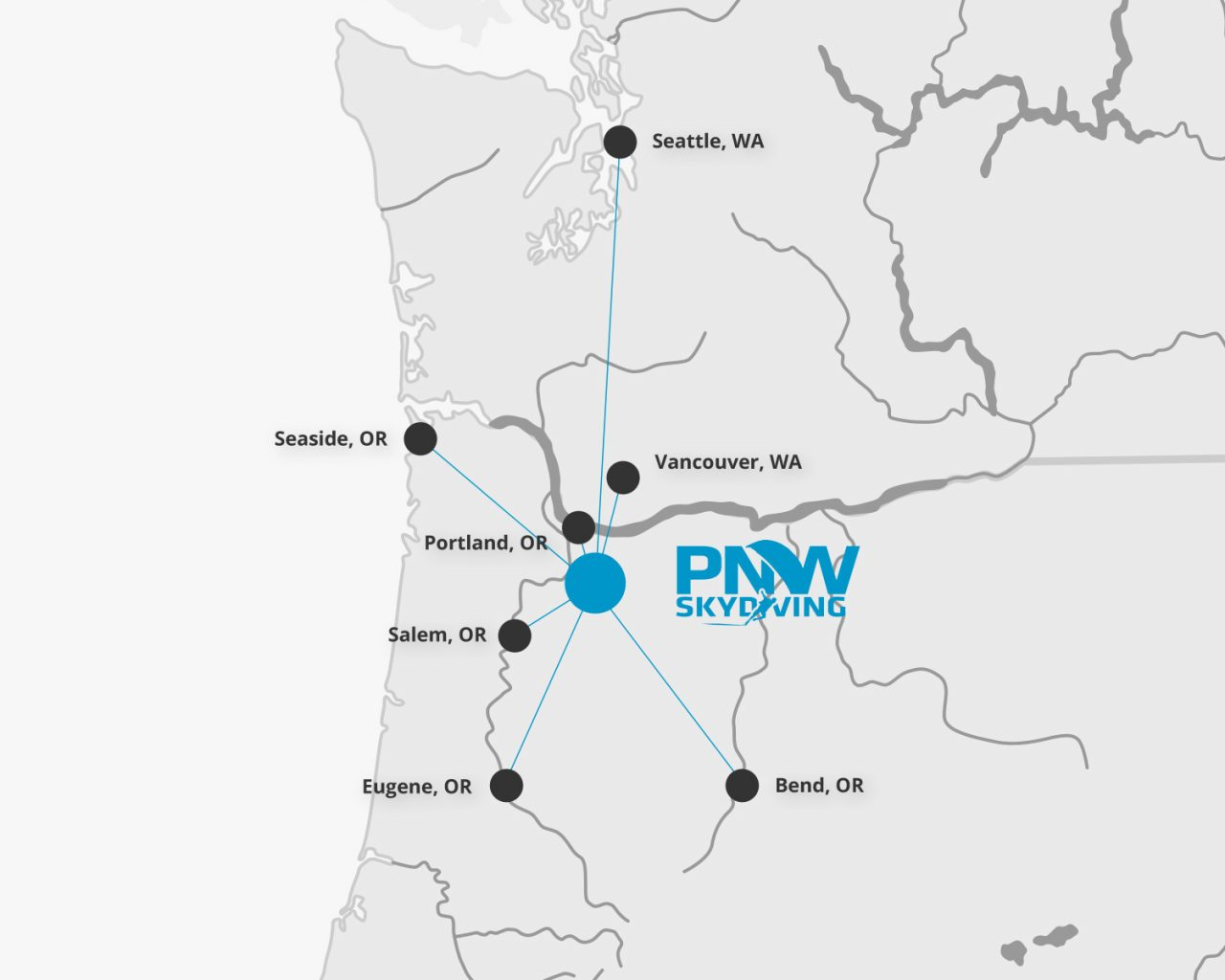 Proximity map showing the location of PNW Skydiving in relation to Portland, Salem, Eugene and Bend, OR